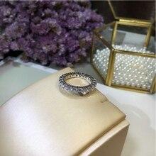 Joyería Fina mujeres banda 925 de plata esterlina sólido anillo diamonique 5A ZIRCON CZ compromiso de boda anillos para las mujeres regalo