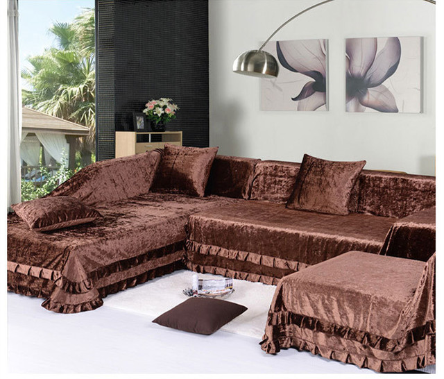 2014 Sectional Slipcovers High Grade Gold Velvet Sofa Towel Slip Quilted  Leather Cushion Slipcover