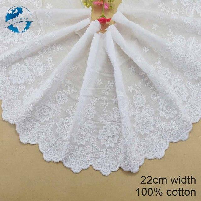 22 cm di larghezza, 100% Cotone embroid lace cucitura nastro guipure trim tessut