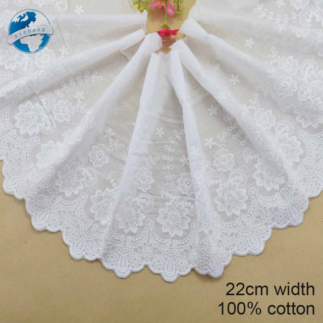 22cm width 100% Cotton embroid lace sewing ribbon guipure trim fabric warp knitting DIY Garment Accessories free shipping#3320