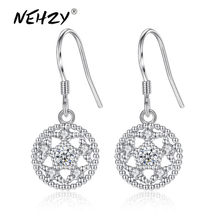 NEHZY Nuove signore di modo orecchini d'argento di alta qualità retro rotondo sveglio di cristallo pop gioielli in argento orecchini