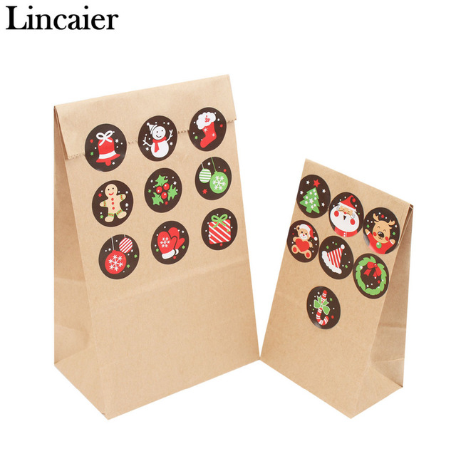 Lincaier 16 Piece Brown Kraft Paper Bag Christmas Stickers Gifts Bags Decorations Wedding Candy Wrapping Party Gift New Year