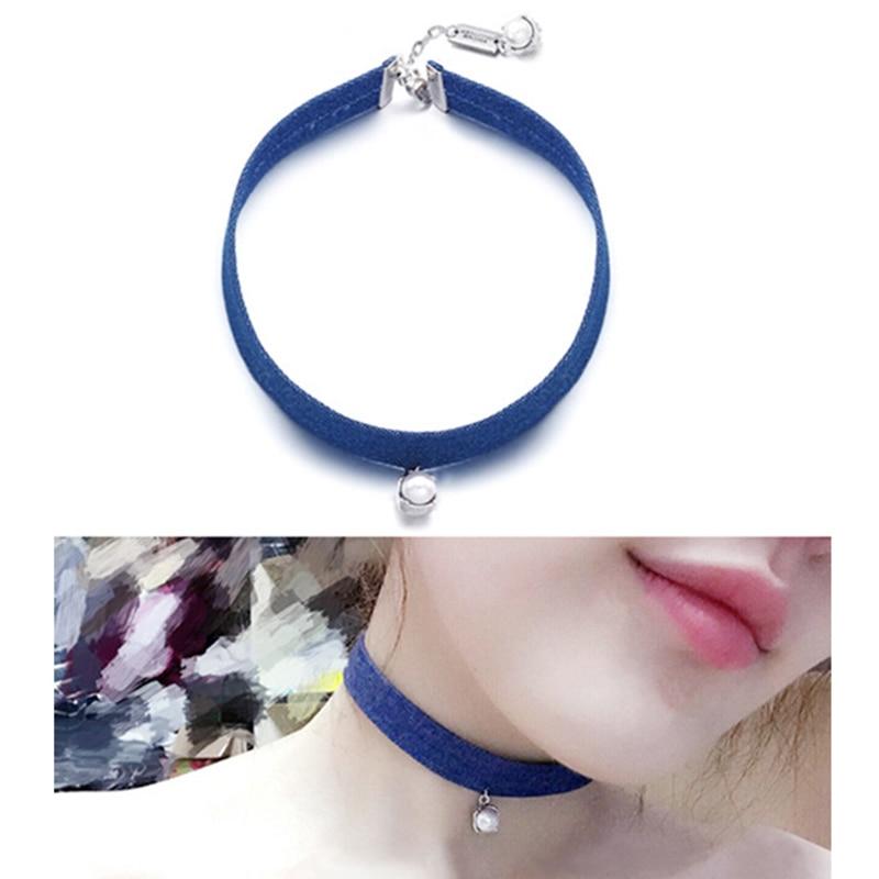 Korean Custom Simple <font><b>Jeans</b></font> Blue Cloth Pearl Pendant Neck Chain Short Necklace Collarbone Chain Accessories Neck Band Choker