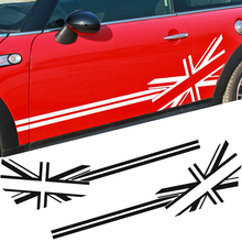 Union Jack Flag Style Side Stripe Body Decal Sticker for BMW MINI Cooper R50 R53 F55 F56 R52 R56 R57 R58 R59 R60 Car Styling 2pcs set door rear view mirrors cover case sticker decal car styling for mini cooper one s r50 r52 r53 2002 2006 accessories