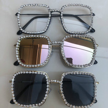 Big Metal Mens Square Sunglasses Diamond Mirrored  Trendy Oversized Women Sun Glasses Crystal Clear Lens Eyewear Gafas de sol
