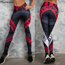 Maoxzon Womens Letter Print Sexy Slim Fitness Workout Bodycon Pants Fashion Active Elastic Skinny Leggings Trousers