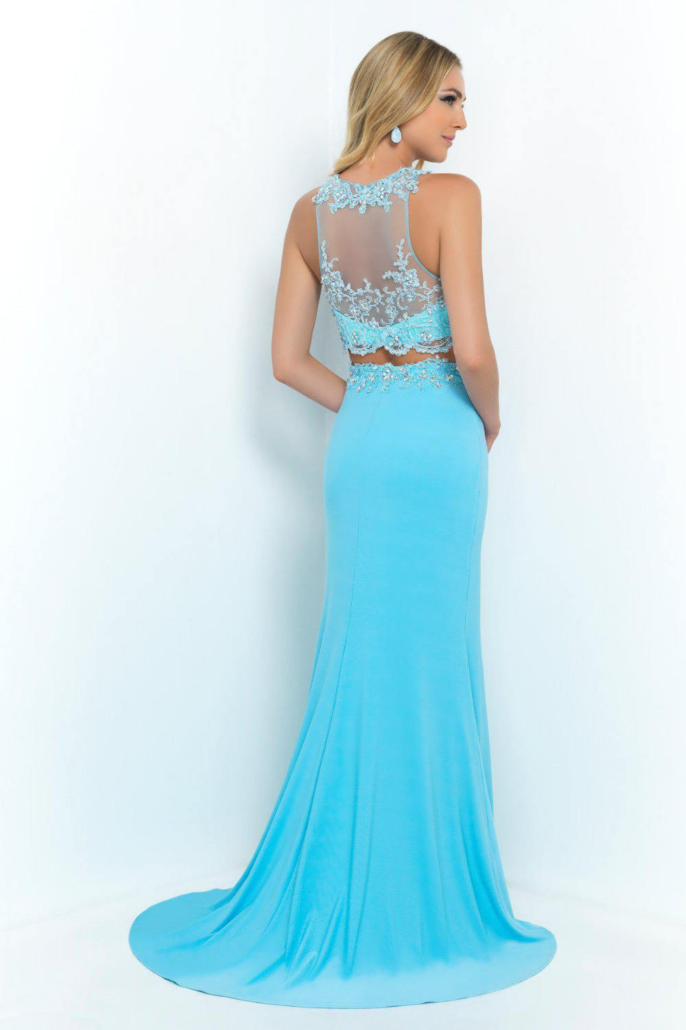 Beautiful Appliques Sheer Side Open Light Blue Crystal Two Piece ...
