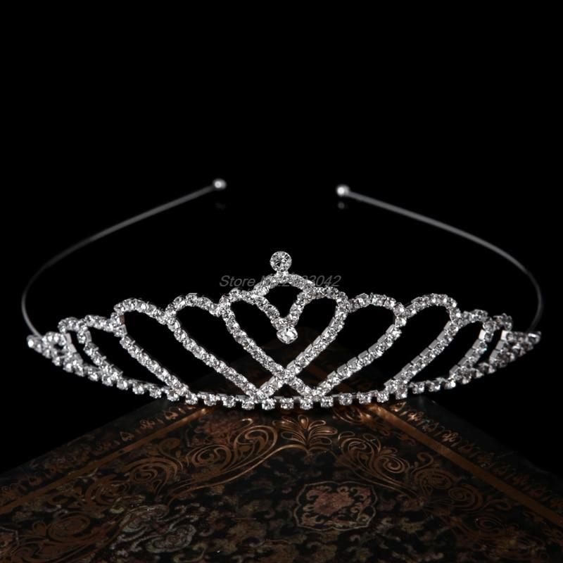 Vintage Handmade Rhinestone Tiara Heart Shape Bridal Headband Wedding Hairband  -W128