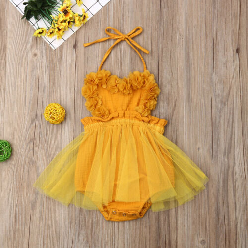 2019 Summer Halter Fold Mesh Patchwork Backless Sleeveless Romper Newborn Kids Baby Girls Lace Tutu Dress Clothes Outfits