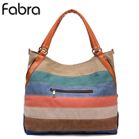 Fabra Woman Striped Messenger Bags Plaid Handbags Multi Color Canvas Big Patchwork Casual Tote Shopping Shoulder Bag