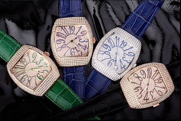 Vintage Tonneau Women Full Crystals Dress Watches Big Size Vogue Girls Leather Casual Wrist watch Quartz