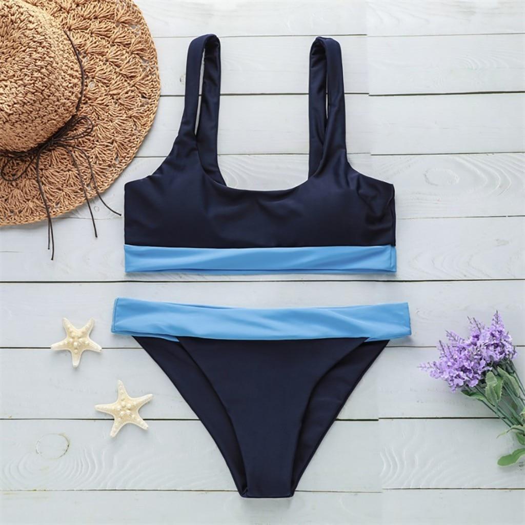 bikini 2019 sexy Women's Splice Bikini Print Two Piece Swimsuit Pushups Swimwear Beachwear swimwear women one piece swimsuit 1