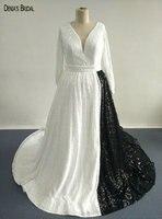 2017 White And Black Wedding Dresses with V Neckline Long Sleeves Floor Length Court Custom Bridal Gowns