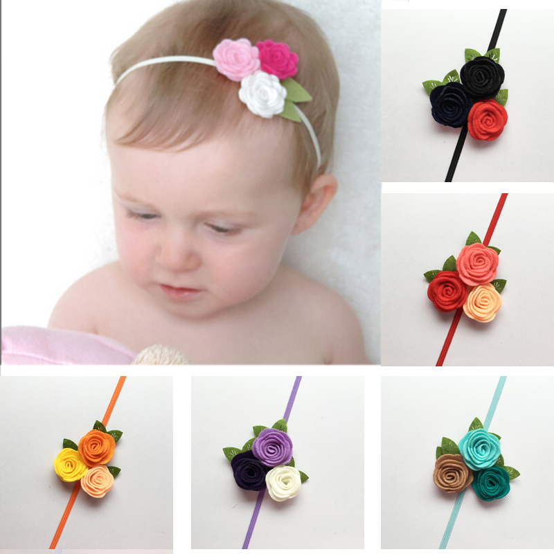 Headband Bebe Girl Triple Felt Rose Flower Hair band Kids Children Christmas Headwear Princess Photo Props Hair Accessories New bebe girls flower headband four felt rose flowers head band elastic hairbands rainbow headwear hair accessories