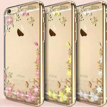 New Fashion Rhinestone Secret Garden Flower Phone Bag For iPhone 6 6s 6Plus 6s Plus 7 7Plus TPU Glitter Crystal Women Phone Case