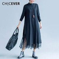 CHICEVER Spring Black Women Dress Long Sleeve Loose Big Size High Split Dresses Female Clothes Fashion