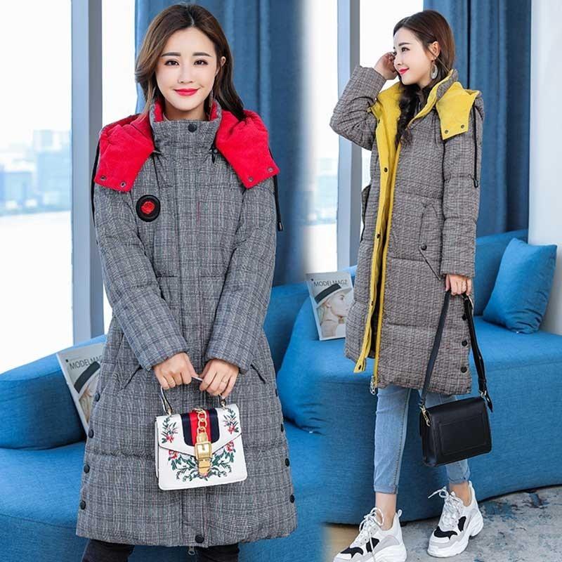 Veste Rembourré Épaissie Coton Mode yellw 16 Taille Red Treillis 2018 Femme Lâche Rouge Plume Manteau 5xl Plus D'hiver Chapeau Chaud De xpCBwqXFSn
