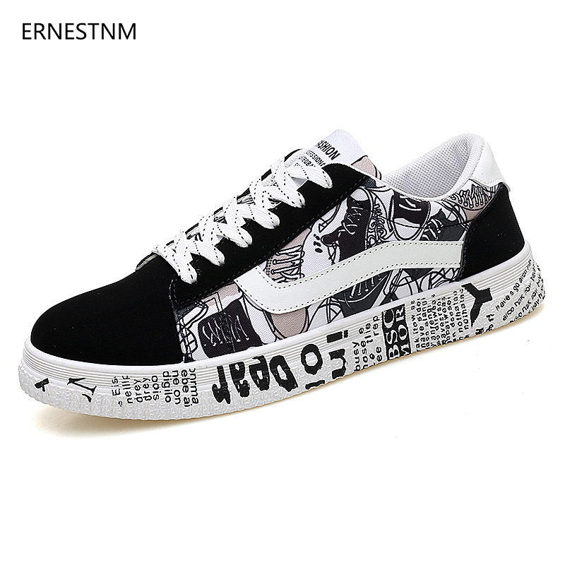 ERNESTNM 2019 Summer Woman Sneakers White Casual Shoes Lovers Printing Fashion  Flats Ladies Vulcanized Shoes Zapatos De Mujer