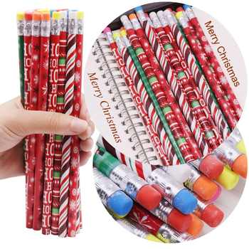 200 pcs Christmas pattern Pencil With eraser HB Black refill pencil Pen length 188mm Diameter 8mm Student sationery Holiday Gift - DISCOUNT ITEM  31% OFF All Category