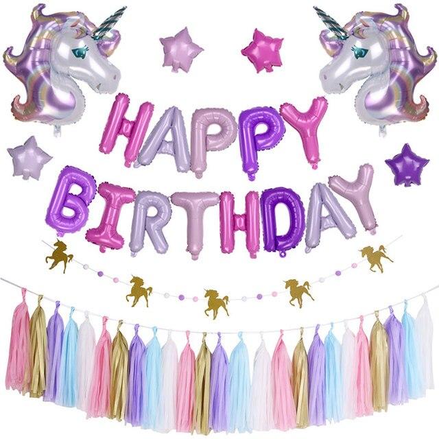 25 pcs set kids birthday party decorations baby shower unicorn foil