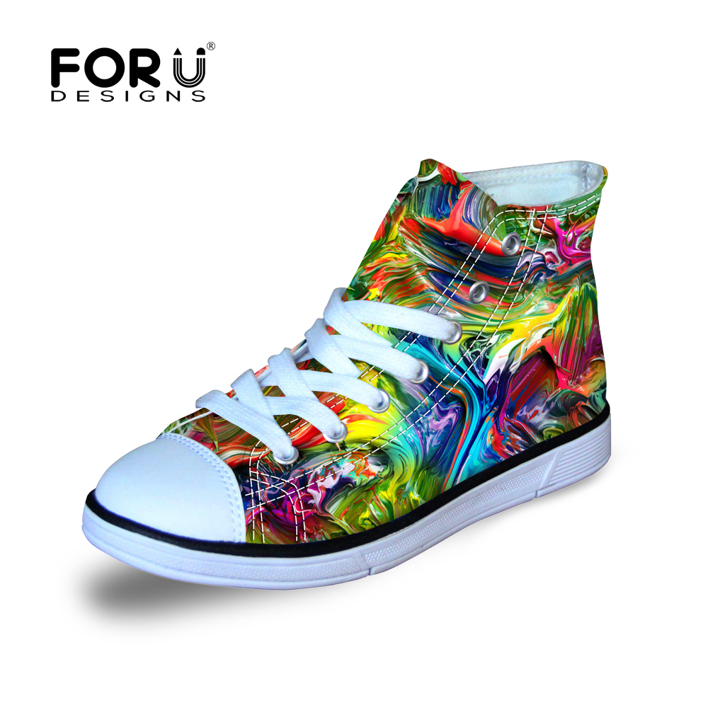FORUDESIGNS Kids Lightweight Graffti Painting Shoes Design Boys Students Canvas Sport High Top Sneakers for School Gift Kid