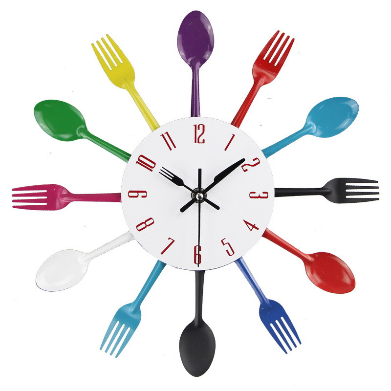 Wall clock digital metal spoon fork family kitchen modern quartz clock movement mute projection alarm clock decorative wall cloc(China)