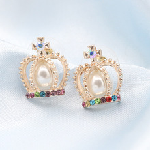 Trendy Elegant Zinc Alloy Gold Color Pearl Crystal Rhinestone Crown Cross Multi Stud Earrings for Women