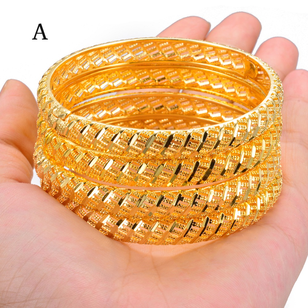 Wando 4Pcs Gold Color Wedding Bangles for Women Bride Bracelets Ethiopian/france/African/Dubai Jewelry(A:closed)(B:Open
