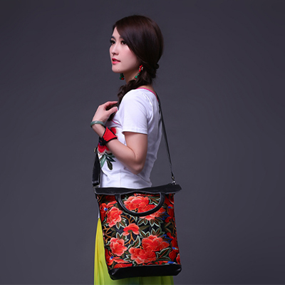 National Trend Messenger Shoulder Cross-Body Bag Messenger Leather Bags Embroidery Canvas Tote Bags