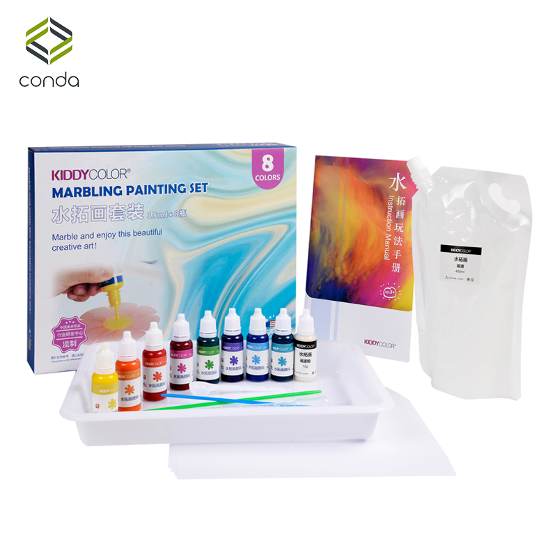 Conda 8 Colors DIY Marbling Paint Set for Kids Abric/Paper/Wood/Nail/Clothing Pigment Art SuppliesConda 8 Colors DIY Marbling Paint Set for Kids Abric/Paper/Wood/Nail/Clothing Pigment Art Supplies
