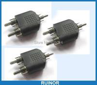 50 PCS RCA Male To 2 Male RCA Socket Audio Splitter Converter Video Audio