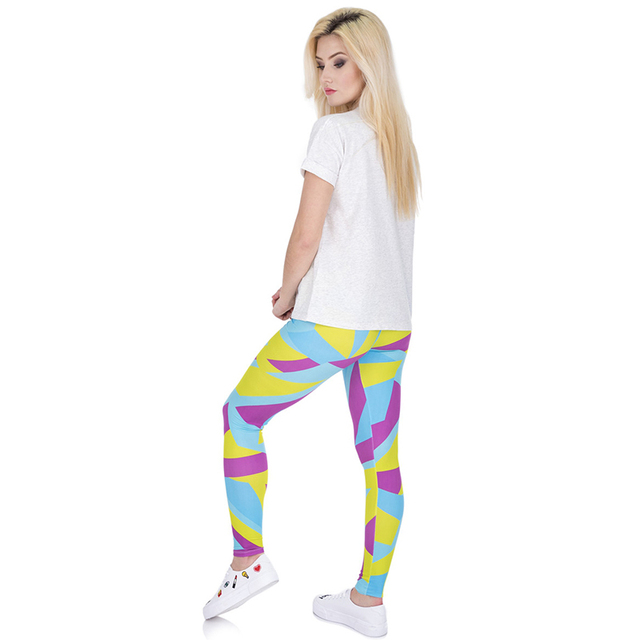 Women Girls 3d Casual Funny Basic Skinny Leggings Jeggings Pants Colorful Geometric Stretched Leggins Female