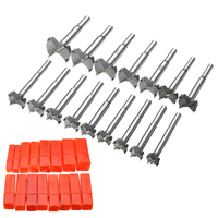 16Pcs Tungsten Steel 15 35mm Forstner Woodworking Hole Saw Drill Bits Hole Cutter Set Tool For