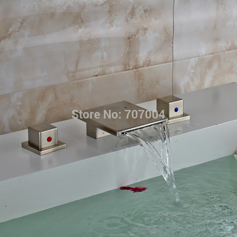 Designer 3PCs Widespread Waterfall Basin Faucets Deck Mounted Two Handles Bathroom Vessel Sink Taps