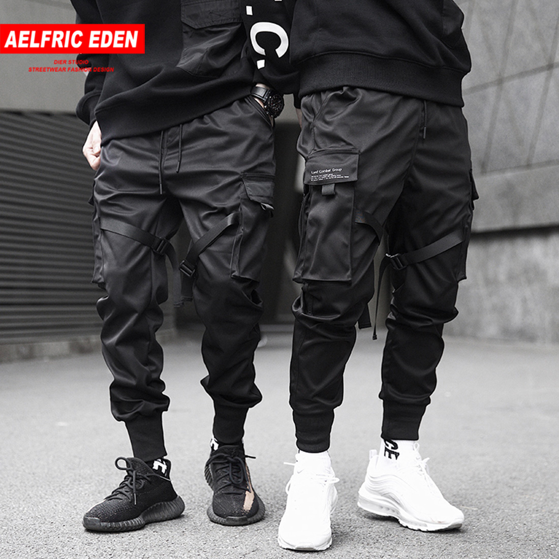 Aelfric Eden Men Ribbons Cargo Pants Black Pocket Casual Streetwear 2019 Harem Joggers Harajuku Sweatpants Male Hip Hop Trousers(China)