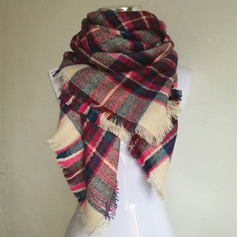 New Za Winter Children s Cashmere font b tartan b font plaid Scarf Kids scarves Boys