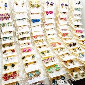 Image 4 - 도매 60 쌍 모듬 된 여성 패션 쥬얼리 아름다운 라인 석 귀걸이 스터드 귀걸이 믹스 스타일