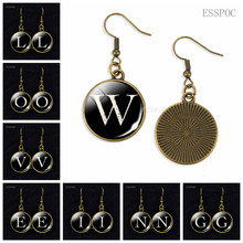 Single Letter Creative Earring Round Long Wedding Groom Accessories Gift,26 Letters A To Z Glass
