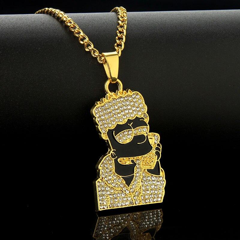 Colar Simpsons Bart Brilhante Strass jóias dos desenhos animados simpsons cabeça pingente colares mulheres ouro prata longa corrente esmalte colar hiphop atacado