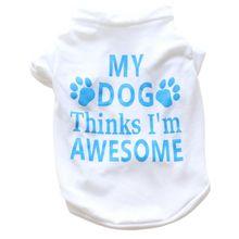 Футболка для домашних животных; сезон весна-лето; рубашка с принтом собаки; с короткими рукавами; 2 цвета; Одежда для собак