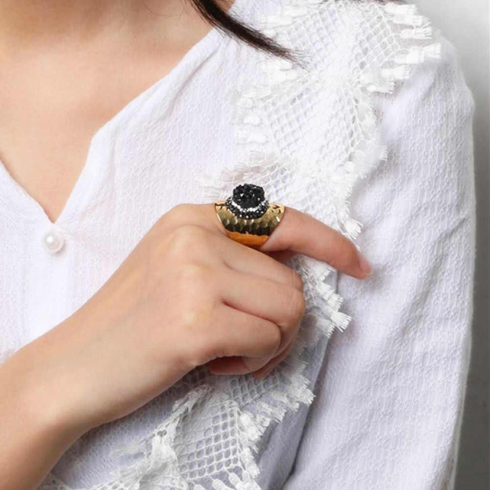 ShinyGem ทองชุบ Druzy แหวนประกายไม่สม่ำเสมอ Rainbow แหวนคริสตัลบิ๊กหินธรรมชาติแหวนผู้หญิง