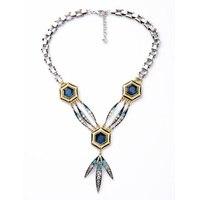 Nicandra Drop Ketting Art Deco Lulu F Ombre Blauw Kristallen Antiqued Zilveren Ketting
