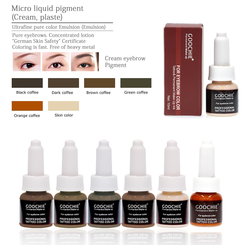 1 Bottle GOOCHIE Microblading Pure Emulsion Pigment Permanent Makeup Eyebrow Pigment 6 Color Tattoo Inks For Tattoo Machine Ink