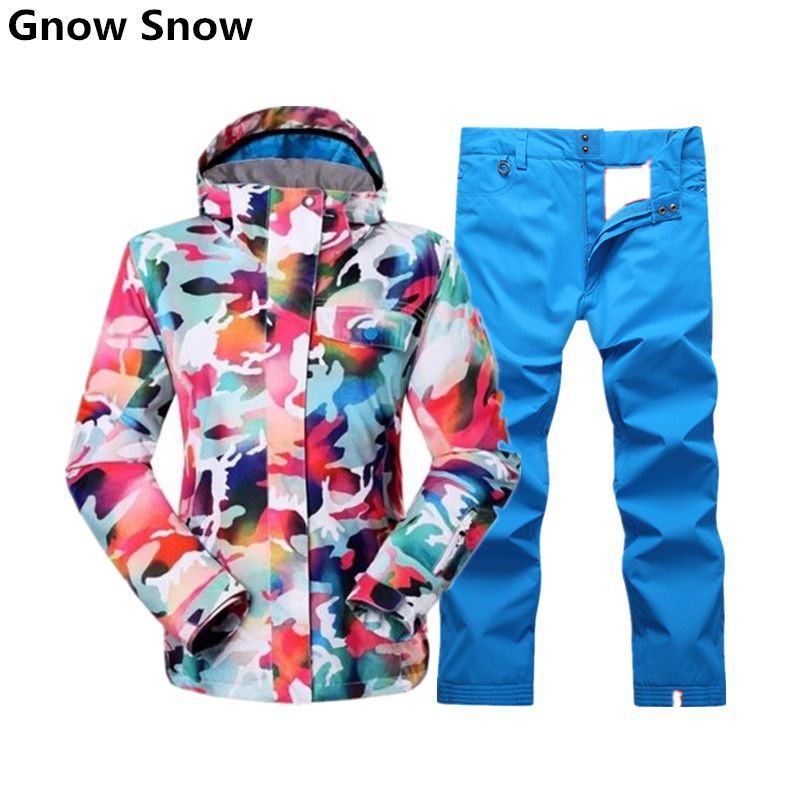 gsou snow colorful snowboard jacket and pant ski jacket for women mountain skiing suit female. Black Bedroom Furniture Sets. Home Design Ideas