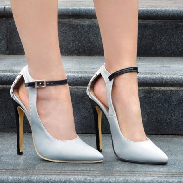 Womens Fashion Handmade 10.5cm Buckle Strap Pointed Toe Party High Heel Pumps Shoes XD006-01