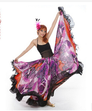 2014 NEW Performance Belly Dance Romany Flamenco Big Flowers Skirt,Professional 720 Degrees 23M Super Skirt