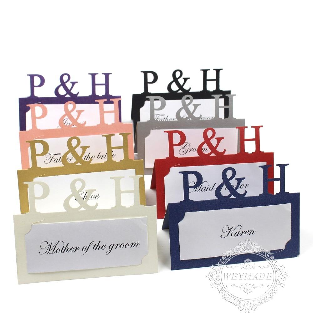 20 1 60 Personnalisé La Première Lettre De Mariage Nom De Couple Impression Gratuite Laser Découpé Cartes De Nom De Lieu Nom Personnalisé Cartes