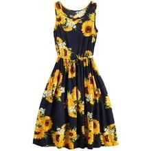 ZOGAA Summer Elastic Waist A-Line O-Neck Dress Women Bohemian Beach Holiday Sunflower Printed Sleeveless Cotton Tank Dresses