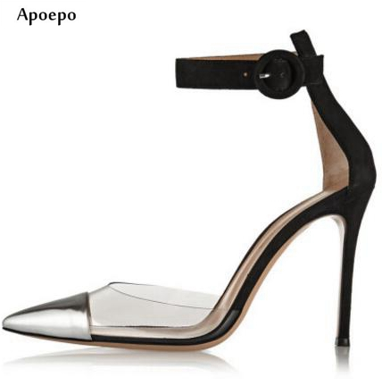 Apoepo New fashion high heel shoes for woman sexy pointed toe ankle strap pumps mixed colors dress heels PVC patchwork shoes пуф patchwork colors