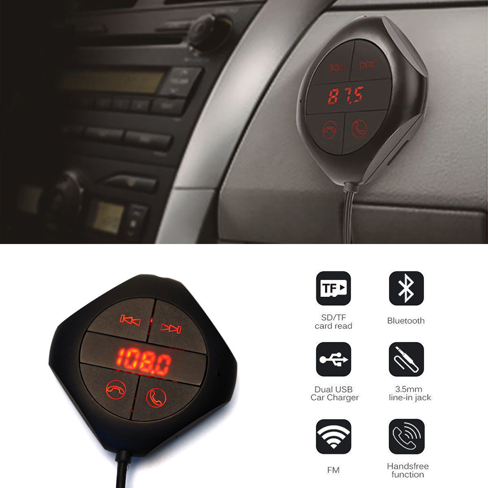 Handsfree <font><b>Bluetooth</b></font> Dual USB Car Kit Auto Line Audio Input <font><b>LCD</b></font> SD Magnet Wireless Vehicle <font><b>Bluetooth</b></font> <font><b>FM</b></font> <font><b>Transmitter</b></font> <font><b>MP3</b></font> <font><b>FM</b></font> <font><b>Player</b></font> image